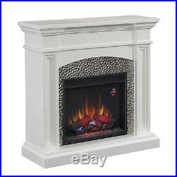 Hampton Bay 82704 Culver 42 in. Hammered Insert Electric Fireplace in White