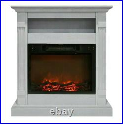 Hanover Drexel 34 in. Electric Fireplace with Log/Grate Insert White Mantel