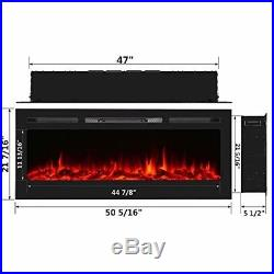 Homedex 50 Recessed Mounted Electric Fireplace Insert with Touch Screen Control