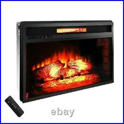 Hot New Embedded 26 Electric Fireplace Insert Heater Log Flame Remote Control