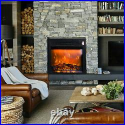Hot New Embedded Electric Fireplace Insert Heater Log Flame Remote Contro