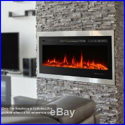 IKAYAA 50 Electric Fireplace Heater Insert Wall Mount 3D Flames Log With Remote