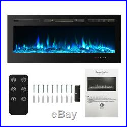 IKAYAA 50 Electric Fireplace Recessed Insert Heat-er Glass View WithRemote
