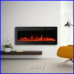 IKAYAA Built-In Touch Control Embedded Electric Fireplace Insert Log Flame Glass