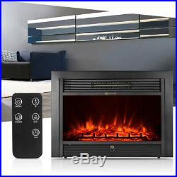 IKAYAA Electric Fireplace Insert Glass View Adjustable LED Flame Heater 2019