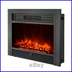 IKAYAA Electric Fireplace Insert Heater Glass View Adjustable LED Flame W1Q0