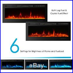 IKAYAA Embedded Electric Fireplace Insert Glass View With Remote Control Flame