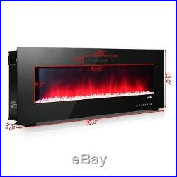 Insert Electric Fireplace 50 Inch Freestanding Wall Mount Heater RC Colored New