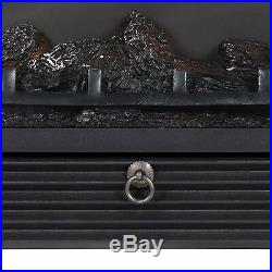 Insert Electric Fireplace Heater Glass LED Log Flame Remote Control Flow Heat