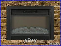 Insert Electric Fireplace Heater Realistic 3D Log Flame Remote Control Mount In