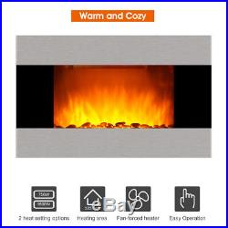 LED 1500W Wall Mounted Electric Fireplace Insert Heater Remote Flame Colors Home