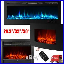 LED Electric Fireplace Recessed Insert Wall Mounted Multicolor Flame Heat+Remote