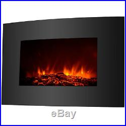 Large Insert Adjustable Electric Wall Mount Fireplace Heater Realistic Wood Fire