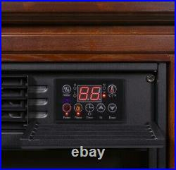 Large Room Electric Infrared Fireplace Heater Wood Mantel Insert Heat with Casters