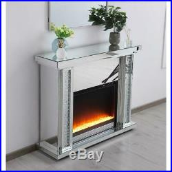 Mirrored Electric Fireplace Mantle With Crystal Insert Living Room Bedroom 47.5