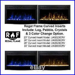 Moda Flame 33 Inch Curved Ventless Heater Electric Fireplace Insert
