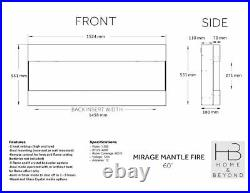 Mounted Mantel Fire White 60 Electric Fuel Fireplaces Wall Insert RRP £999