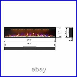 Mystflame 88 inch Fireplace Recessed, Insert and Wall Mounted Slim Electric Fire