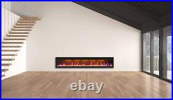 Mystflame 95 inch Fireplace Recessed, Insert and Wall Mounted Slimline Electric