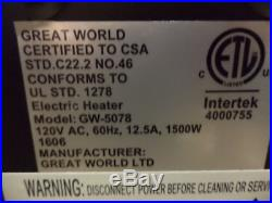 NEW-Great World Electric Fireplace Insert LED-Remote Controlled-4800 BTUs
