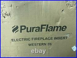 NEW PuraFlame 26-inch Western Electric Fireplace Insert Heater Crackling Sound