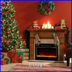 New 36'' Fireplace Electric Embedded Insert Heater Glass Log Flame View Remote