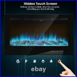 New 36'' Fireplace Remote Electric Embedded Insert Heater Glass Log Flame View