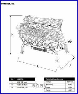 Pleasant Hearth L-20WGH 20.5 in. Infrared Electric Heater Fireplace Insert Logs