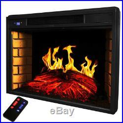 Premium 33 Electric Firebox Fireplace Heater Insert flat Glass Panel W Remote