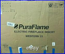 PuraFlame 33-inch Western Electric Fireplace Insert Heater with Remote Control