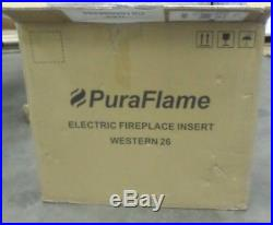 PuraFlame Electric Fireplace Insert Western 26 Inch with Remote Control Black
