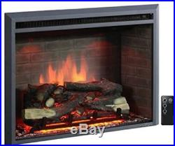 PuraFlame Electric Fireplace Insert Western 33 Inch with Remote Control Black