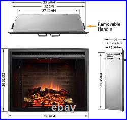 PuraFlame Klaus Electric Fireplace Insert with Fire Crackling Sound, Glass Door