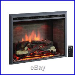 PuraFlame Western 750With1500W Black 30-inch Electric Fireplace Insert with Remote