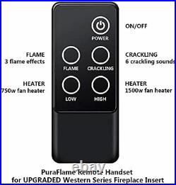 PuraFlame Western Electric Fireplace Insert with Fire Crackling Sound, Remote Co