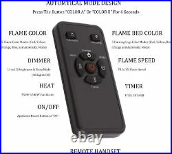 RW Flame 36'' Electric Fireplace Insert Multi Color Timer Touch Screen Remote