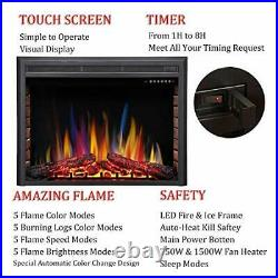 R. W. FLAME 36 Electric Fireplace Insert, Recessed Electric Stove Heater, Touch Sc