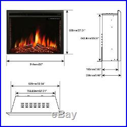 R. W. FLAME 36 inch Recessed Electric Fireplace Insert, Remote Control, 1500W