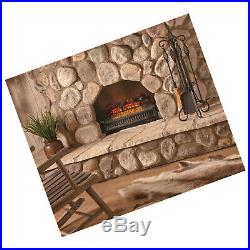 Realistic Flame Glow 4600-BTU Electric Logs Fireplace Heater Insert With Remote