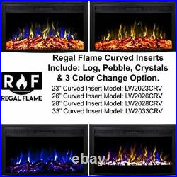 Regal Flame 28 Inch Curved Ventless Heater Electric Fireplace Insert
