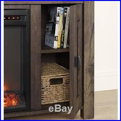 Rustic Wood TV Stand Electric Fireplace Insert Heater Living Room Furniture Unit