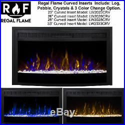 Ryan Rove 26 Inch Curved Ventless Heater Electric Fireplace Insert