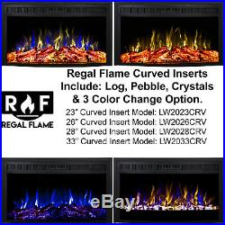 Ryan Rove 33 Inch Curved Ventless Heater Electric Fireplace Insert