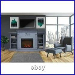 Sanoma 72 Electric Mantel Fireplace with Charred Log Insert