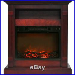 Sienna 34 In. Electric Fireplace with 1500W Log Insert and Cherry Mantel