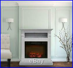Sienna 34 In. Electric Fireplace with 1500W Log Insert and White Mantel