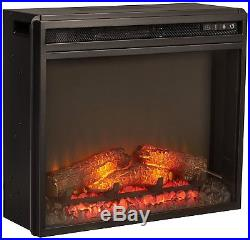 Small Electric Heater Fire Place Insert Black Living Room Flame Remote Control