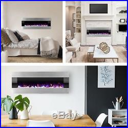 Stainless Steel Fireplace Insert Electric LED Recess Flush Mount Remote 54 inch
