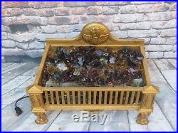 Superb Cast Iron Antique Electric Fireplace Insert w Glass Embers Big Ornate