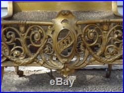 Superb Cast Iron Antique Fireplace Insert w Embers Nice Big Ornate Electric